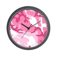Pink Camouflage Pattern Wall Clock