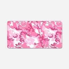 Pink Camouflage Pattern Aluminum License Plate