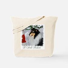 Tri-Color Collie Christmas Tote Bag