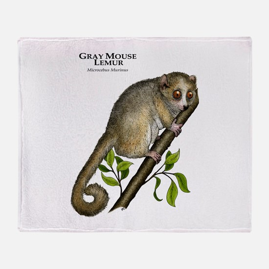 Gray Mouse Lemur Throw Blanket