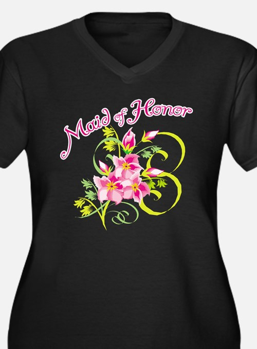Maid of Honor Women's Plus Size V-Neck Dark T-Shir