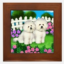 BICHON FRISE DOGS GARDEN Framed Tile