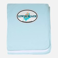 Lewes Beach DE - Oval Design baby blanket