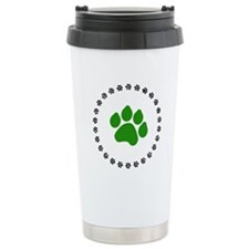 Green Paw Print Travel Mug
