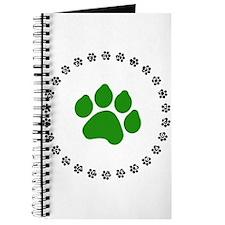 Green Paw Print Journal