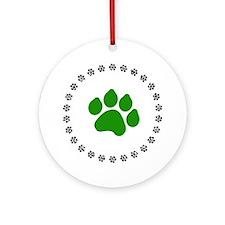 Green Paw Print Ornament (Round)