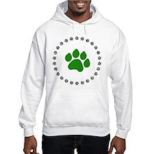 Green Paw Print Hoodie