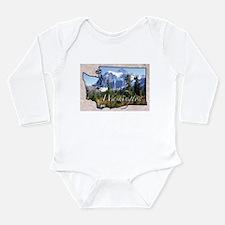 Cute Washington state Long Sleeve Infant Bodysuit