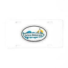 Lewes Beach DE - Oval Design Aluminum License Plat