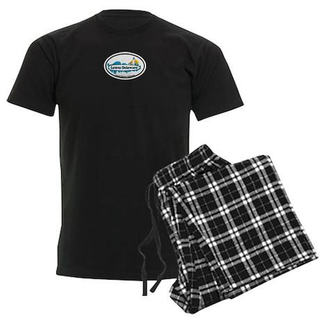 Lewes Beach DE - Oval Design Men's Dark Pajamas