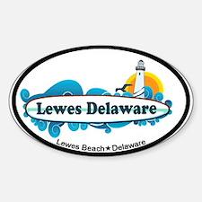 Lewes Beach DE - Oval Design Decal