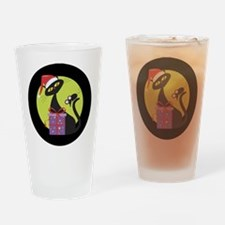 Black CAT AND MOUSE Drinking Glass