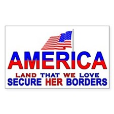 Minutemen Seure Our Borders Rectangle Decal