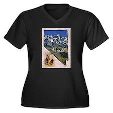 Cute States Women's Plus Size V-Neck Dark T-Shirt