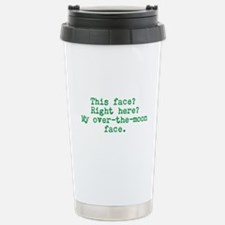 Over the Moon Face Stainless Steel Travel Mug