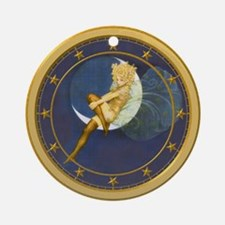 THE LADY IN THE MOON Ornament (Round)