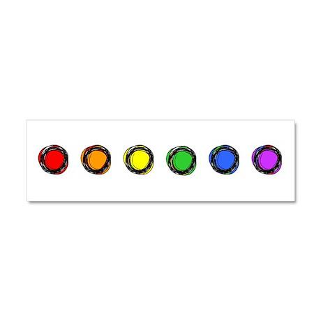 SO Gay Rainbow Dots Car Magnet 10 x 3