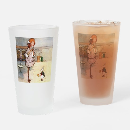 ALICE & THE WHITE RABBIT Drinking Glass
