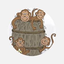 """Cute Barrel of Monkeys 3.5"""" Button"""