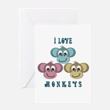 I love Monkeys Retro Style Greeting Card