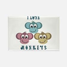 I love Monkeys Retro Style Rectangle Magnet (100 p