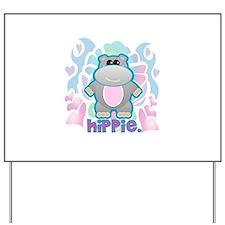 Retro Hippie Hippo Yard Sign