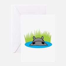 Hippo in Water Greeting Card