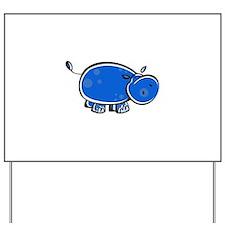 Bright Blue Hippo Yard Sign