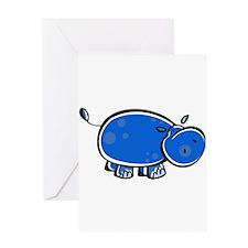 Bright Blue Hippo Greeting Card