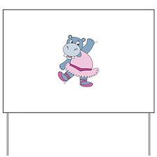 Ballerina Hippo Yard Sign