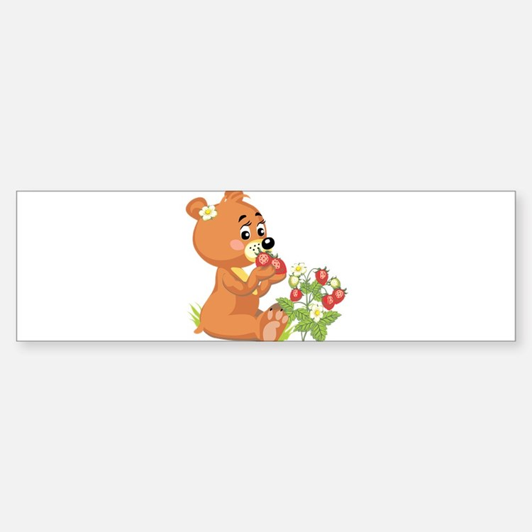 Teddy Bear Eating Strawberrie Bumper Bumper Sticker