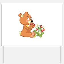 Teddy Bear Eating Strawberrie Yard Sign