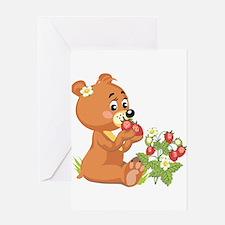 Teddy Bear Eating Strawberrie Greeting Card