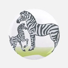"""Mommy and Baby Zebra 3.5"""" Button"""