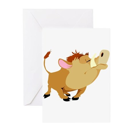 Funny Stubborn Wild Boar Greeting Cards (Pk of 20)
