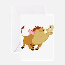 Funny Stubborn Wild Boar Greeting Card
