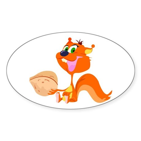 Happy Squirrel with Walnut Sticker (Oval 10 pk)
