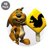 """Squirrel Crossing Sign Squirr 3.5"""" Button (10"""