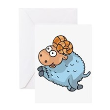 Funny Leaping Ram Greeting Card