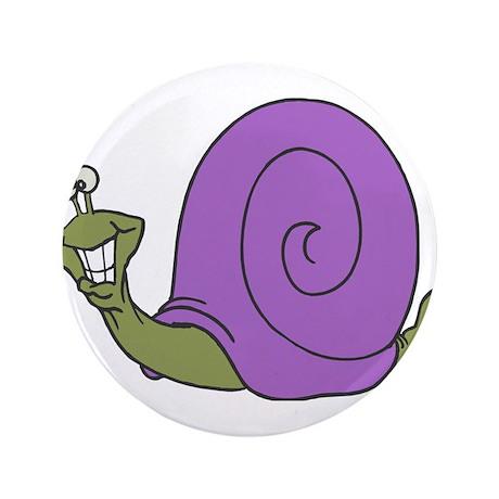 "Happy Goofy Snail 3.5"" Button"