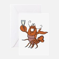 Toasting Wine Lobster Greeting Card