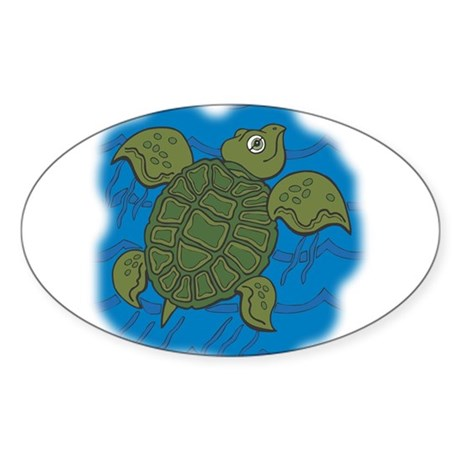 Cute Swimming Sea Turtle Sticker (Oval 50 pk)