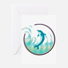 Dolphin Circle Design Greeting Card