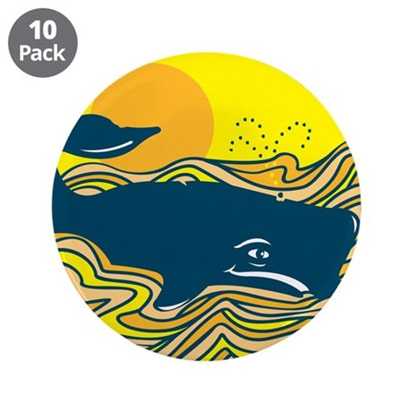 """Swimming in Waves Whale Desig 3.5"""" Button (10"""
