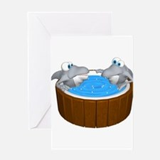 Sharks in a Hot Tub Greeting Card
