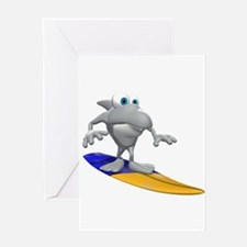 Funny Surfing Shark Greeting Card