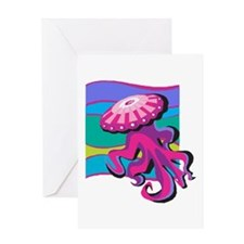 Colorful Jellyfish Design Greeting Card