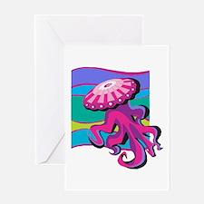 Colorful Jellyfish Design Greeting Card