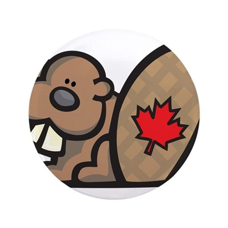 "Cute Canadian Beaver 3.5"" Button (100 pack)"