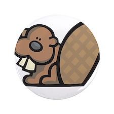 """Cute Little Beaver 3.5"""" Button"""
